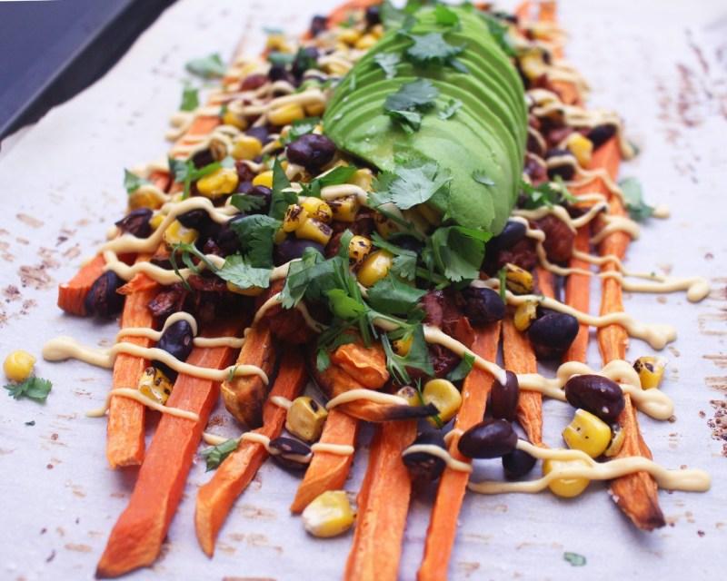 Loaded BBQ Jackfruit Sweet Potato Nachos Vegan