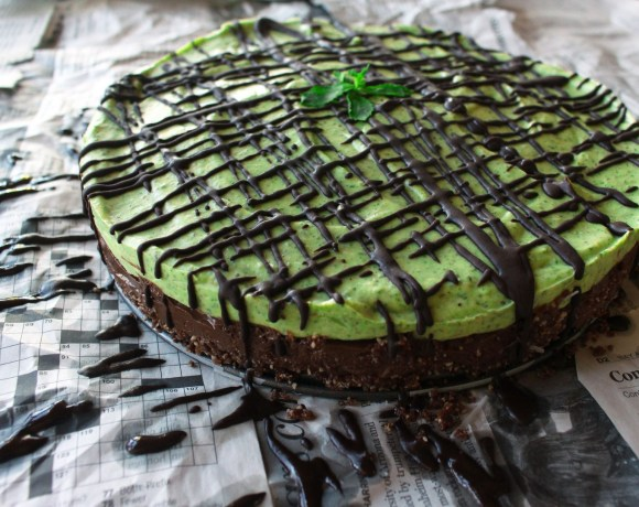 Raw Layered Mint Chocolate Mousse Tart with Chocolate Ganache Drizzle (GF)