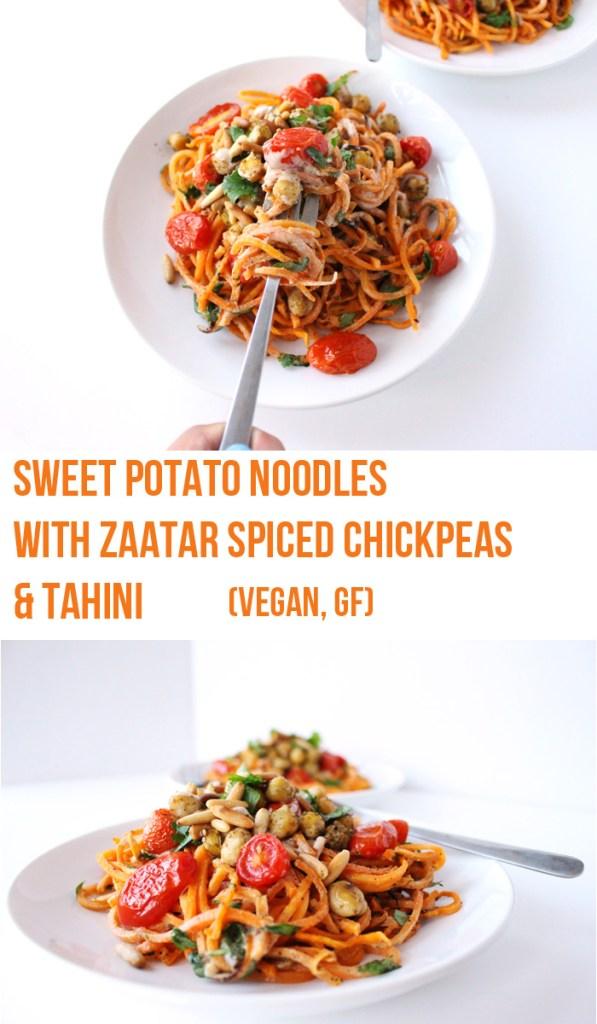 Sweet Potato Noodles with Zaatar Spiced Chickpeas & Tahini (V, GF)   Zena 'n Zaatar