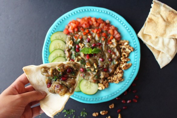 syrian vegan baba ganoush ghannouj no tahini grilled smoky eggplant dip mediterranean zenanzaatar arabic food blog recipe