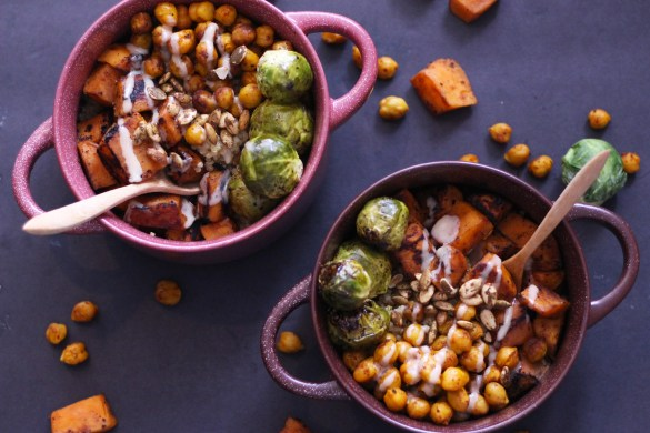 wonderful winter veggie vegan bowls vegetarian gluten free quinoa sweet potato maple tahini brussel sprouts chickpeas food blog zenanzaatar recipes