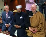 Holocaust survivor, Tomi Reichental, left; Shaykh Dr Umar Al-Qadri, centre; Rev Myozan Kodo, right: at an inter-faith night of peace at Dublin's Al-Mustafa Mosque. June 2015.
