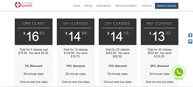 121 spanish Courses Pricing Reviews