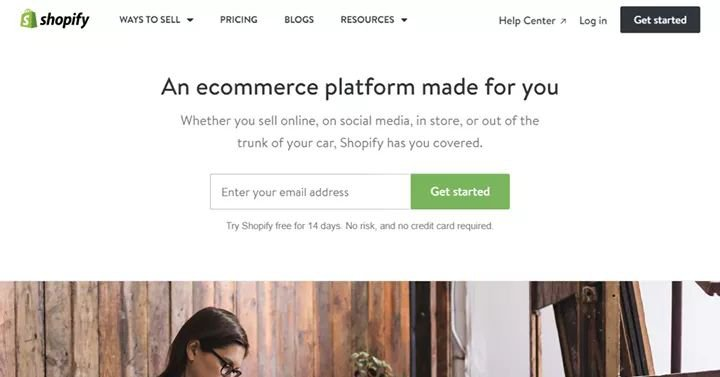 Shopify 14 days free trial