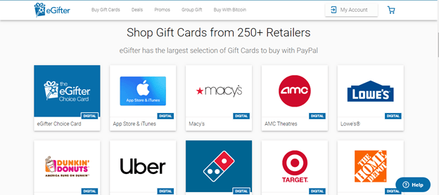 Buy Visa Gift Card With Paypal From egifter