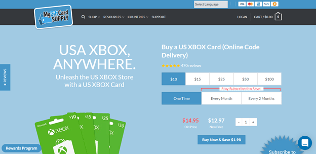 Buy xbox gift card from My Gift Card Supply