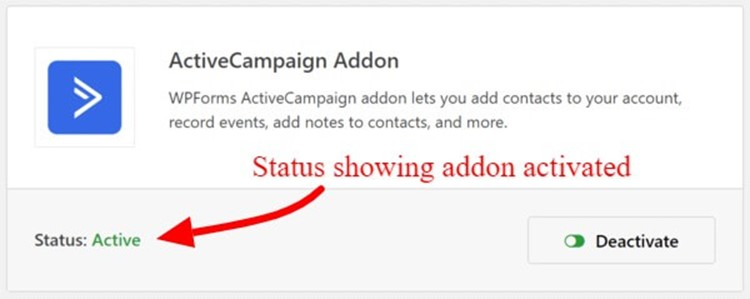 Activate ActiveCampaign WPForms Addon
