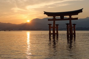 Itsukushima Shrine Gate at Sunset