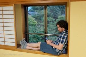 Relaxing in our room at Ninna-ji in Kyoto, Japan
