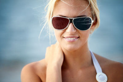 girl with different color glasses lenses