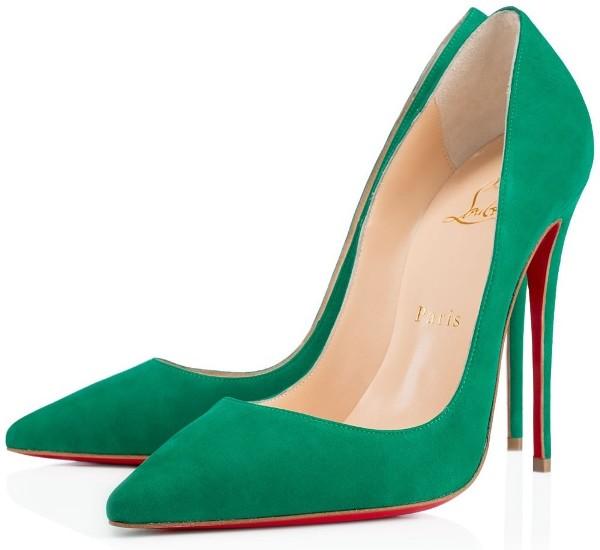 christian louboutin yeşil nubuk stiletto ayakkabı