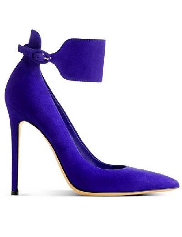 mor süet stiletto ayakkabı bilekten bantlı