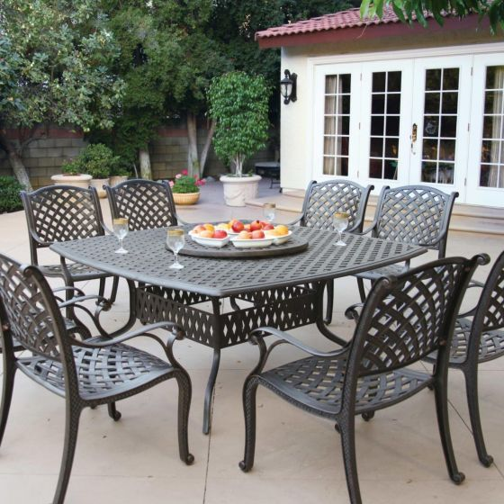 nassau 8 person cast aluminum patio dining set with lazy susan antique bronze
