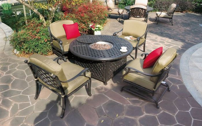 nassau cast aluminum 5pc deep seating outdoor patio club chair set with 52 round ice chest table antique bronze