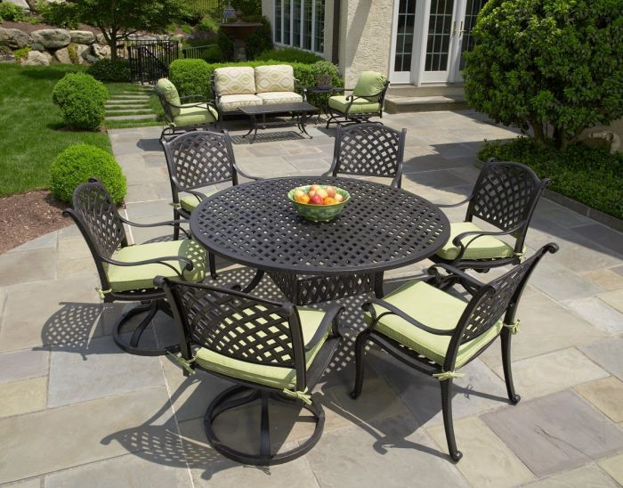 nassau cast aluminum 7pc patio dining set with 60 round table series 3000 antique bronze