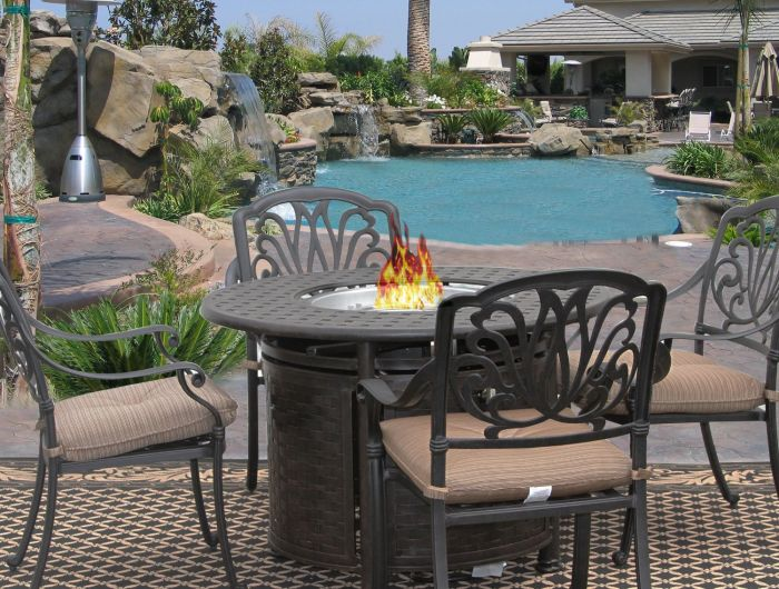 eli 5 piece patio dining set for 4 person with round fire table