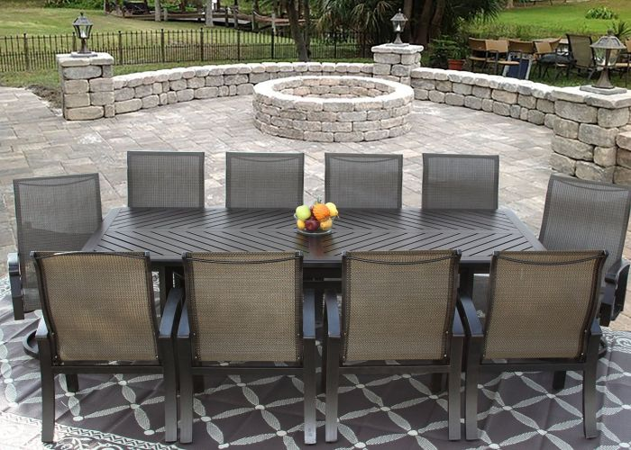barbados sling outdoor patio 11pc dining set for 10 person with 44x102 rectangle series 4000 table antique bronze finish