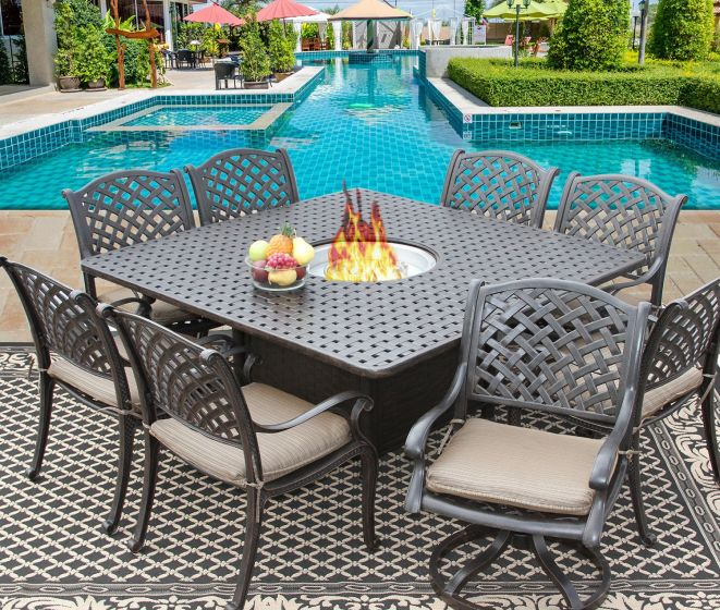 nassau square outdoor dining set for 8 person with fire table