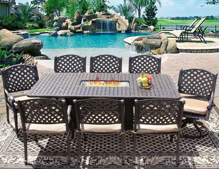 nassau 9 piece patio dining set with fire table