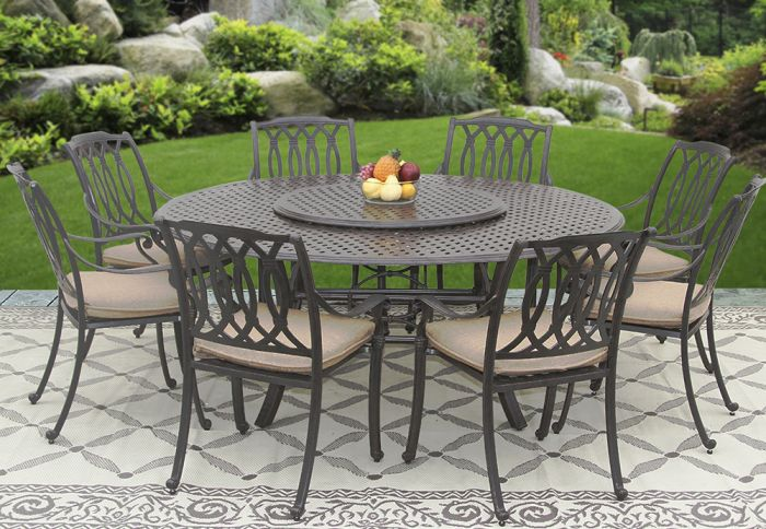 san marcos outdoor patio 9pc set 8 dining chairs 71 inch round table 35 series 5000