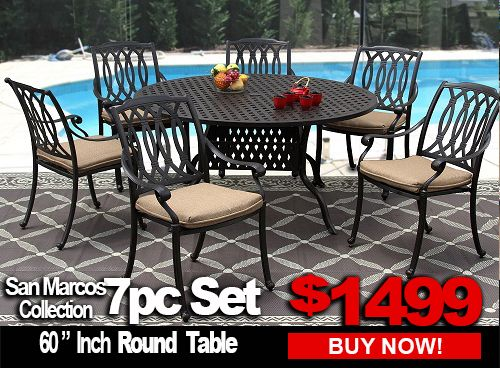 patio furniture sale san marcos 7 piece dining set with 60 inch round table for 6 person