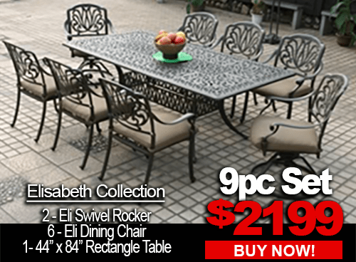 patio furniture sale elisabeth 9pc set with 2 swivel rocker 6 dining chairs and 44x84 rectangle table