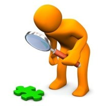 Orange figure trying to figure out a puzzle using a magnifying glass