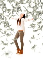 Excited woman under a money rain because her income ceiling is gone