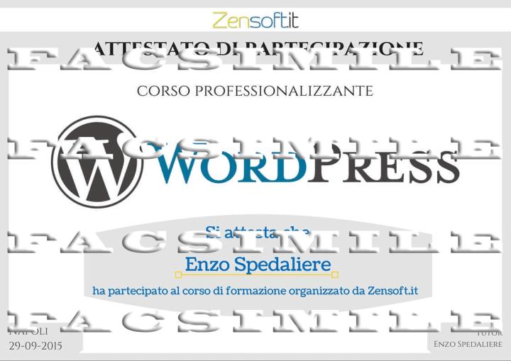 Attestato di Partecipazione Corso WordPress