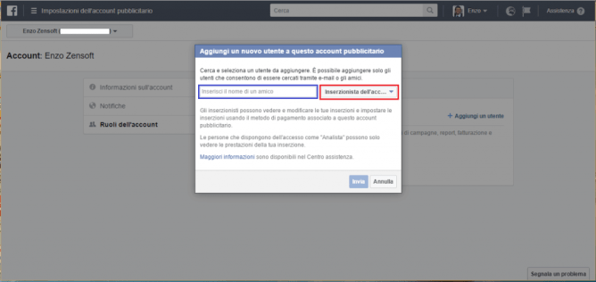Come Gestire Facebook Ads di un Cliente-ruoli dell'account