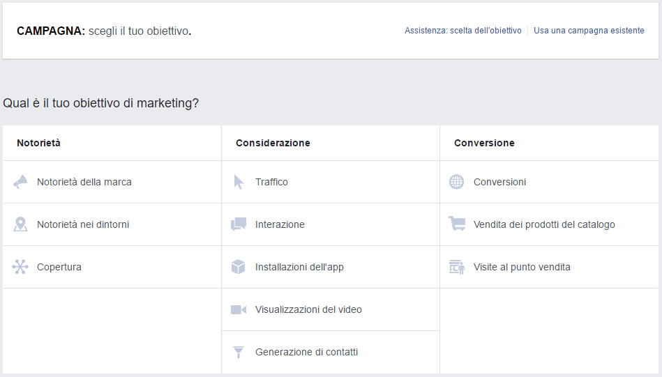 tabella campagna facebook ads