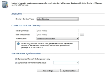 Active Directory configuration settings