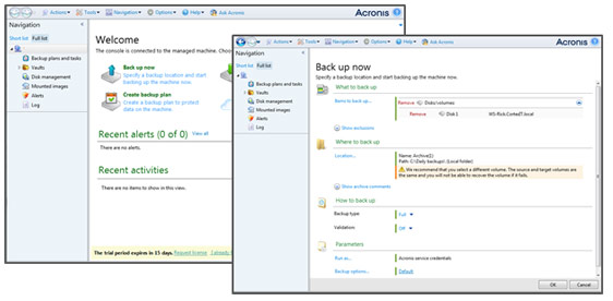 Acronis interface