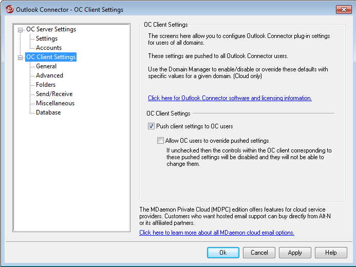 MDaemon Outlook Connector Settings Management