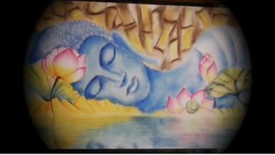 buddha pasztell rajz