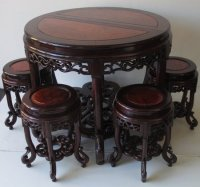 Antique Chinese Hardwood Round Table with 6 chairs.