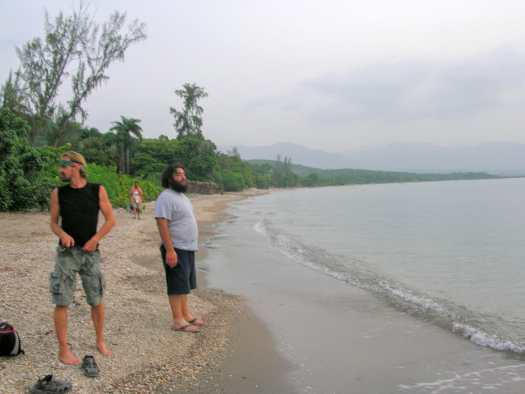 Ulli and some friends on the beach in Haiti