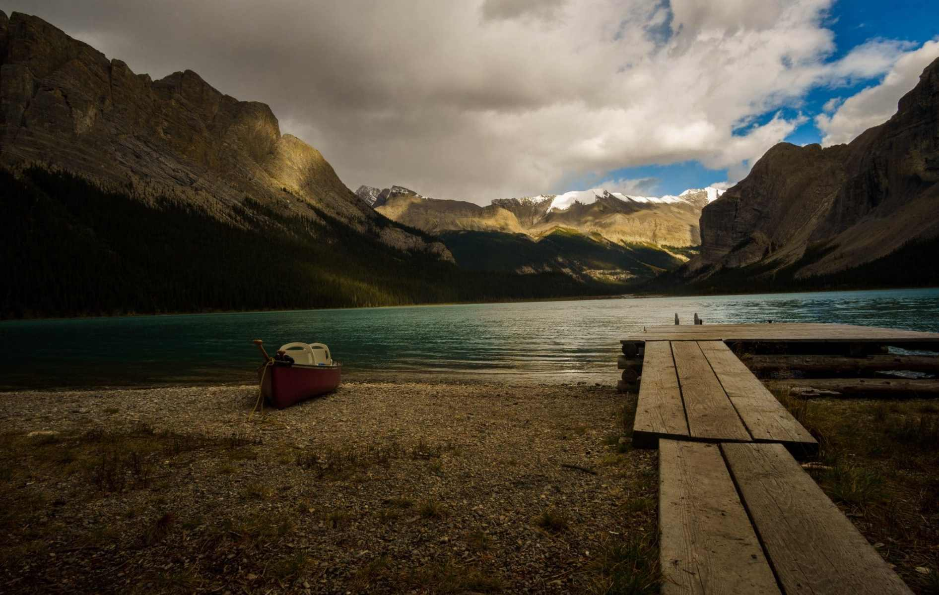 View from Maligne Lake Coronet Campground