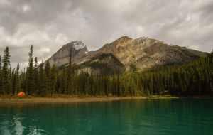 Campsite on Fisherman's Bay, Maligne Lake