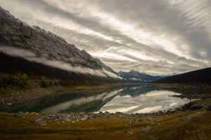 Medicine Lake Reflection on Maligne Lake Road