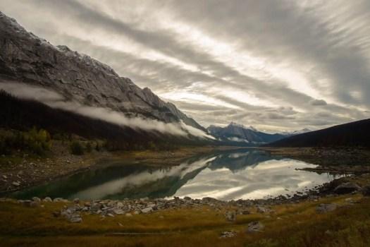 Medicine Lake Reflection on Maligne Lake Road