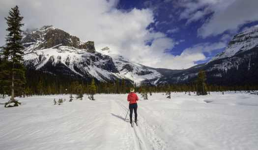 Cross Country Skiing the alluvial Fan Loop at Emerald Lake