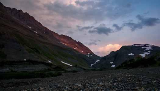 Last light setting on Northover Ridge