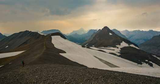 Walking on the ridge, glacier to the right
