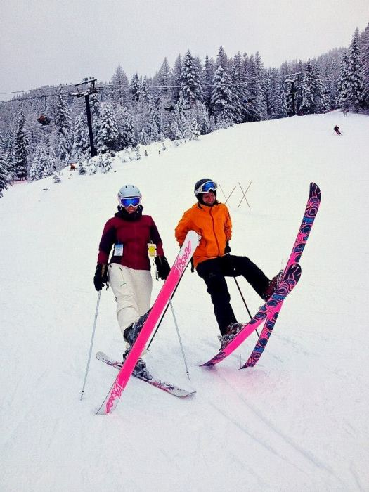 Your guides to the skiing near Calgary - Thea & Phil goofing around on skis