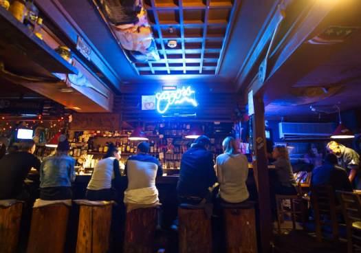 A crowd at the stay bar in Nozawa Onsen, Japan