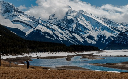 Taking in the view at Spray Lakes. Taken with the Sony 55-210
