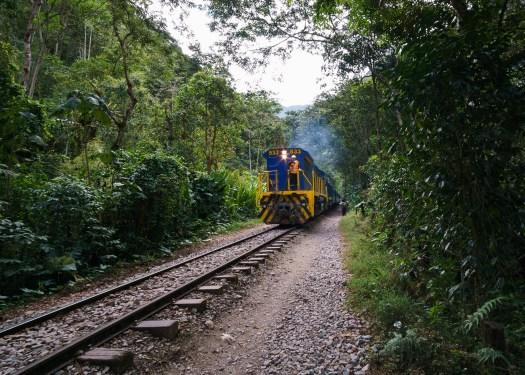 Hiking the train tracks on day 4 of the Salkantay Trek