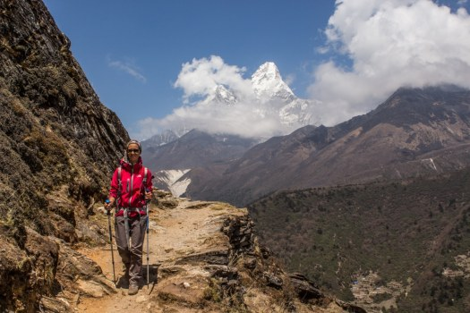 Trekking Poles while hiking in Nepal