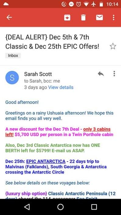 last minute antarctica cruise email